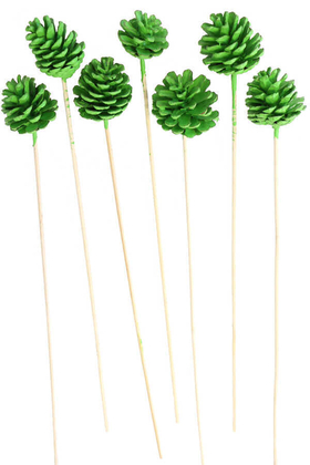 Yapay Çiçek Deposu - 7li Çam Kozalak Bambu Saplı Retro Yeşil