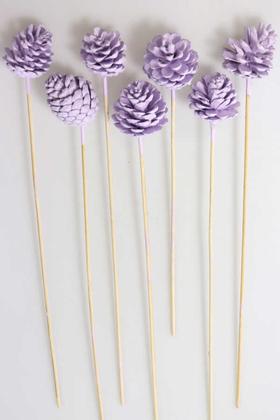 Yapay Çiçek Deposu - 7li Çam Kozalak Bambu Saplı Açık Leylak
