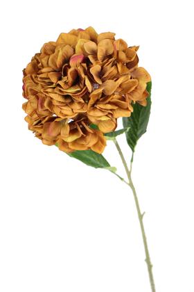 Yapay Çiçek Deposu - Yapay Lüx Ortanca Dalı 90 cm Hardal-Kahve