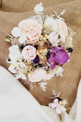 Yapay Çiçek Deposu - Carmela Beyaz Pembe Mor Tonlar Gelin Çiçeği 2li Set