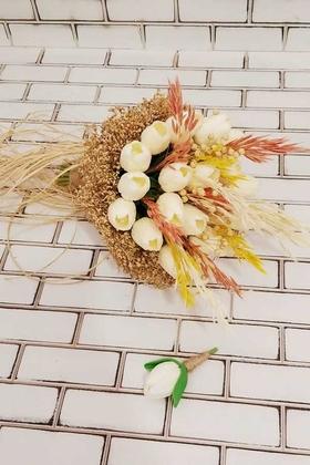 Yapay Çiçek Deposu - Cipsolu Beyaz Islak Lale Gelin Çiçeği 2li Set Beyaz-Bej