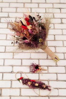 Yapay Çiçek Deposu - Cumba Büyük Kuru Çiçek Gelin Buketi 3lü Set