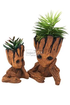 Yapay Çiçek Deposu - Odun Model Beton Groot Saksı 2li Succulentli Set Trend