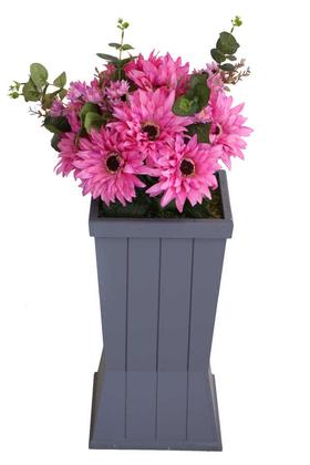 Yapay Çiçek Deposu - Ahşap Saksıda Lüx Gerbera Tanzimi 85 cm Koyu Pembe