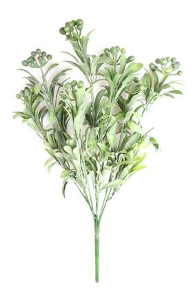 Yapay Çiçek Deposu - Dekoratif Cipsolu Bitki Dalı Demeti Pudralı Yeşil