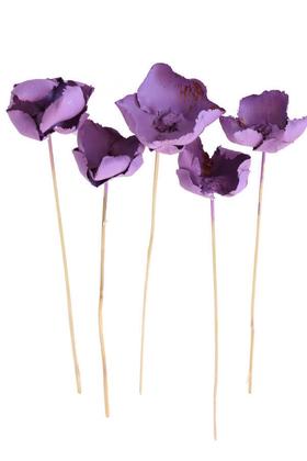 Yapay Çiçek Deposu - Kuru Çiçek 5li Palm Cup Demeti 45 cm Retro Mor