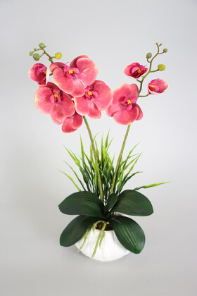 Yapay Çiçek Deposu - Dekoratif 2li Mini Yapay Islak Orkide Tanzimi 50 cm Pastel Fuşya
