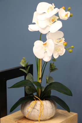 Yapay Çiçek Deposu - Dekoratif 2li Mini Yapay Islak Orkide Tanzimi Beyaz 45 cm