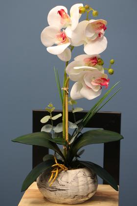 Yapay Çiçek Deposu - Dekoratif 2li Mini Yapay Islak Orkide Tanzimi Beyaz-Pembe 45 cm