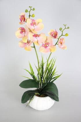 Yapay Çiçek Deposu - Dekoratif 2li Mini Yapay Islak Orkide Tanzimi 50 cm Somon