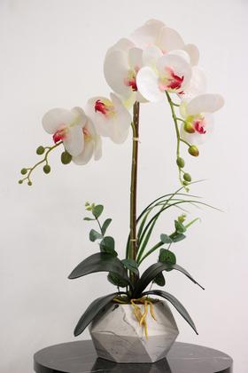 Yapay Çiçek Deposu - Dekoratif 2li Nismo Yapay Islak Orkide Tanzimi Beyaz-Pembe 65 cm