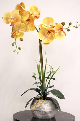Yapay Çiçek Deposu - Dekoratif 2li Nismo Yapay Islak Orkide Tanzimi Turuncu 65 cm