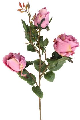Yapay Çiçek Deposu - Dekoratif 3lü Uzun Lüx Gül Dalı 78 cm Pembe