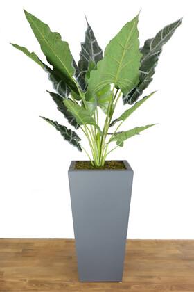 Yapay Çiçek Deposu - Yapay Dev Alocasia Bitkisi Ahşap Saksıda 145 cm Yeşil-Gri