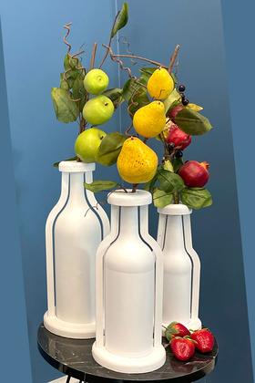 Yapay Çiçek Deposu - Dekoratif Ahşap Vazo Cam Şişeli 3 Boy Beyaz