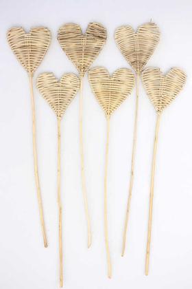 Yapay Çiçek Deposu - Örme Rattan Lata Heart 6lı