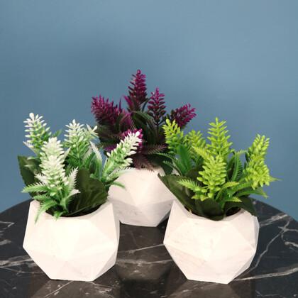 Beton Saksıda Yapay Bitki 3lü Set Model 2 - Thumbnail