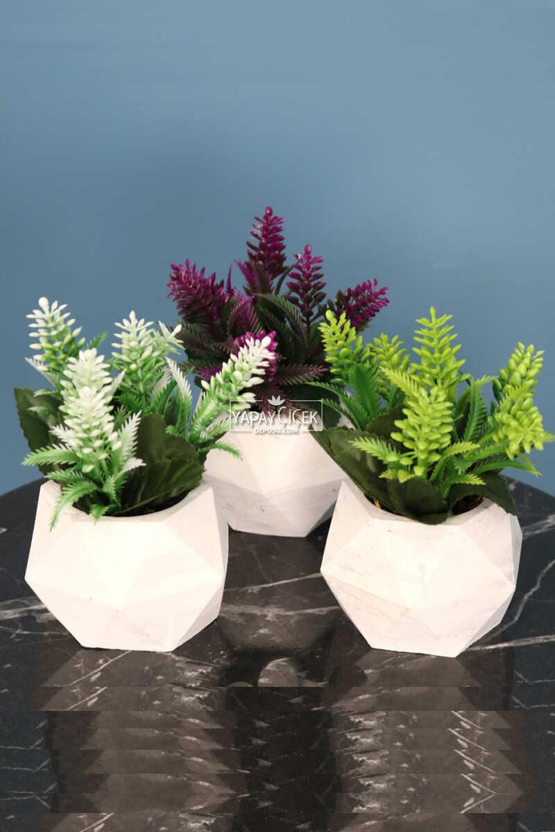Beton Saksıda Yapay Bitki 3lü Set Model 2