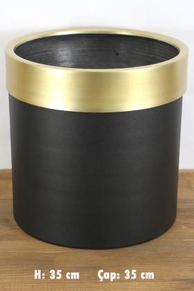 Yapay Çiçek Deposu - Dekoratif Metal Saksı Siyah Altın 35 cm