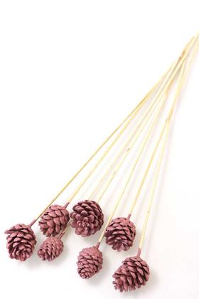 Yapay Çiçek Deposu - 7li Çam Kozalak Bambu Saplı Soft Pembe