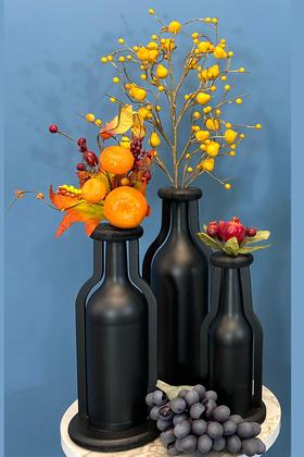 Yapay Çiçek Deposu - Dekoratif Ahşap Vazo Cam Şişeli 3 Boy Siyah