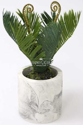 Yapay Çiçek Deposu - Beton Saksıda Ananas Bitkisi 25 cm