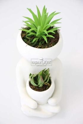 Yapay Çiçek Deposu - Succulentli Buda Heykeli Beyaz