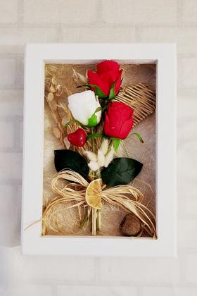 Yapay Çiçek Deposu - Dekoratif Kuru Çiçek Çerçeve Tablo 30 cm Love