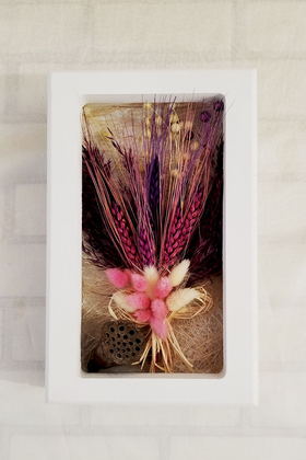 Yapay Çiçek Deposu - Dekoratif Kuru Çiçek Çerçeve Tablo 24 cm Mor Başak