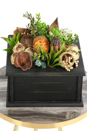 Yapay Çiçek Deposu - Ahşap Sandıklı Dekoratif Masa Çiçeği Tropikal Model
