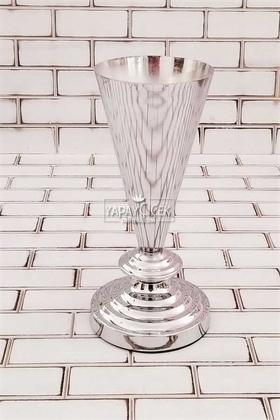 Yapay Çiçek Deposu - Dekoratif Metal Vazo Rakes 28 cm Gümüş