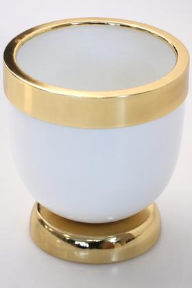 Yapay Çiçek Deposu - Dekoratif Metal Vazo - Saksı Beyaz Altın 17 cm