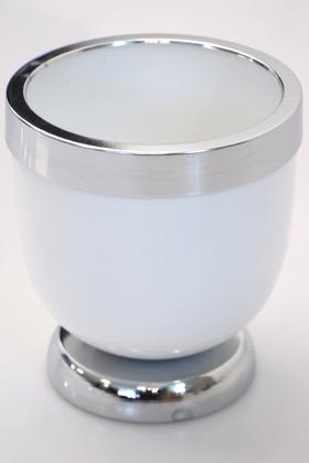 Yapay Çiçek Deposu - Dekoratif Metal Vazo - Saksı Beyaz Gümüş 17 cm