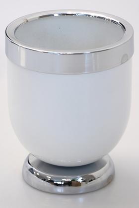 Yapay Çiçek Deposu - Dekoratif Metal Vazo - Saksı Beyaz Gümüş 20 cm