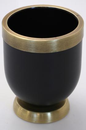 Yapay Çiçek Deposu - Dekoratif Metal Vazo - Saksı Siyah Bronz 20 cm