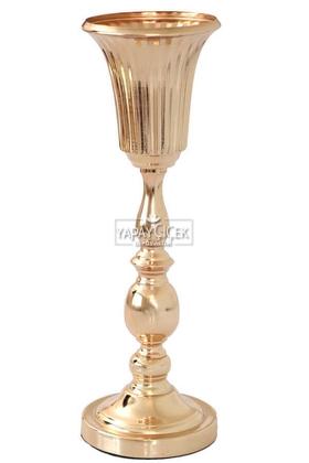 Yapay Çiçek Deposu - Dekoratif Metal Vazo Yuso 47 cm Gold