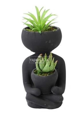 Yapay Çiçek Deposu - Succulentli Buda Heykeli Siyah(Yapay Bitkiler Dahil)