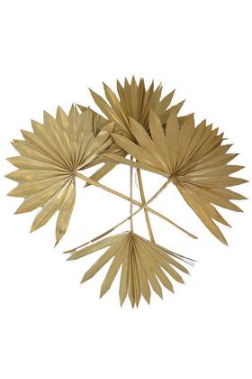 Yapay Çiçek Deposu - 4lü Kuru Tropic Palmiye Yaprağı 40 cm Gold