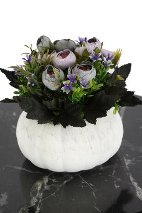 Yapay Çiçek Deposu - Kabak Saksıda Kaliteli Şakayık Çiçek Tanzimi Turkuaz-Lila