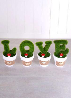 Yapay Çiçek Deposu - Dekoratif Saksıda 4lü Love Dekoru