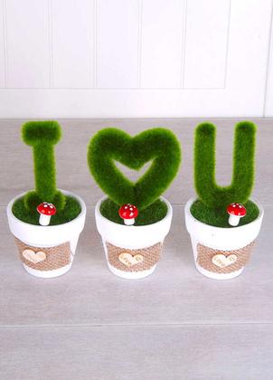 Yapay Çiçek Deposu - Dekoratif Saksıda 3lü Love You Dekoru