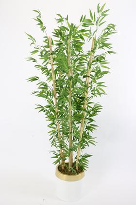 Yapay Çiçek Deposu - Metal Galvaniz Saksıda Yapay Bambu Ağacı 7 Gövde 180 cm (Beyaz-Gold)