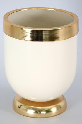 Yapay Çiçek Deposu - Dekoratif Metal Vazo - Saksı Krem Altın 20 cm