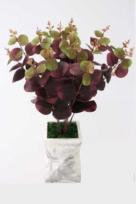 Yapay Çiçek Deposu - Uzun Model Beton Saksıda Okaliptus Bitkisi(Mürdüm-Yeşil)