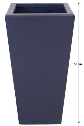 Yapay Çiçek Deposu - Dekoratif Ahşap MDF Saksı ve Çiçeklik Antrasit Mavi 60cm