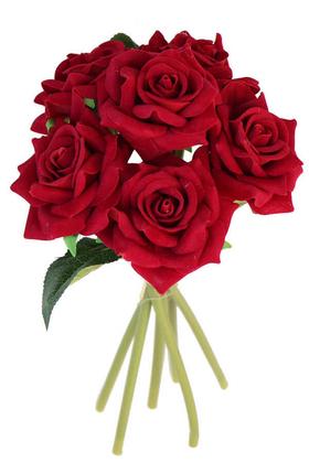 Yapay Çiçek Deposu - Yapay 6lı Kadife Gül Boru Saplı Kırmızı