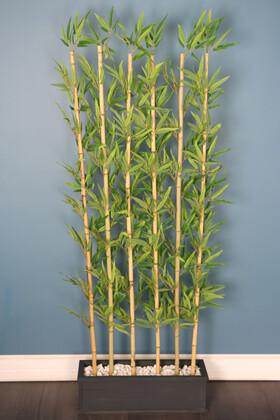 Yapay Çiçek Deposu - Kırçıllı Yaprak 6 Çubuklu Gri Saksıda Bambu Seperatör (20x70x200cm)