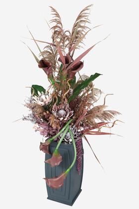 Yapay Çiçek Deposu - Ahşap Saksıda Deluxe Yapay Gala Aranjmanı 165 cm