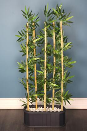 Yapay Çiçek Deposu - Dekoratif Saksıda Kumaş Yapraklı 5 Çubuklu Bambu Seperatör (20x50x140cm)
