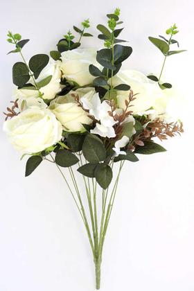 Yapay Çiçek Deposu - Yapay Çiçek 15 Dal Gül Ortanca Okaliptus Çiçekli Nirvana Demet Beyaz